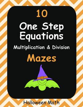 Halloween Math: One Step Equations Maze (Multiplication &