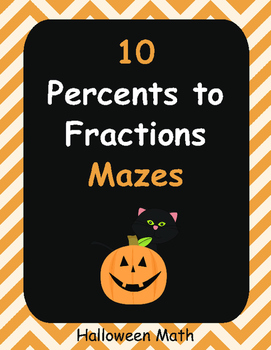 Halloween Math: Percents to Fractions Maze