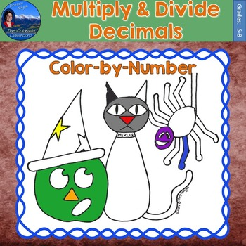 Multiply & Divide Decimals Math Practice Halloween Color b