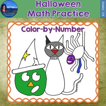 Halloween Math Practice Color by Number Grades 5-8
