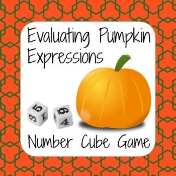 Halloween Math - Pumpkin Number Cube Game - Evaluating Exp