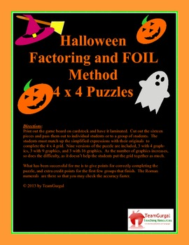Halloween Math Puzzle - Factoring and FOIL Method