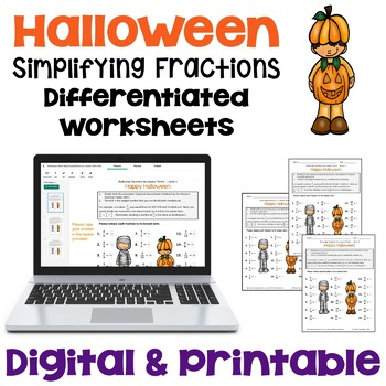Halloween Reducing Fractions to Lowest Terms Worksheets (3