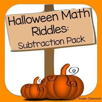 Halloween Subtraction Math Riddles