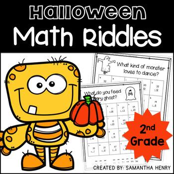 Halloween Math Riddles for 2nd Grade