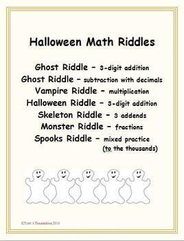 Halloween Math Riddles - work out math problems and solve riddles