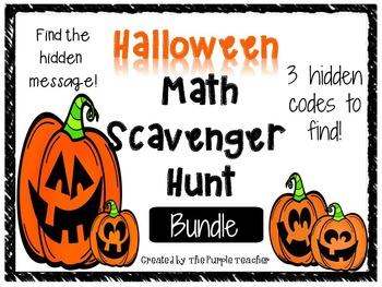 Halloween Math Scavenger Hunt Task Card bundle