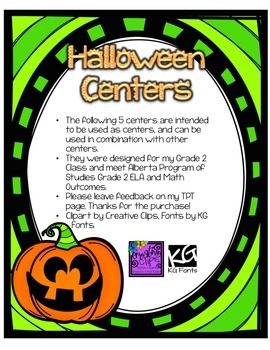 Halloween Math, Science, ELA Centers