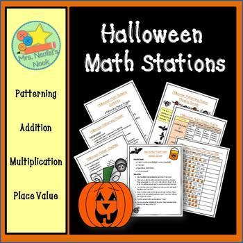 Halloween Math Stations - Patterning, Addition, Multiplica