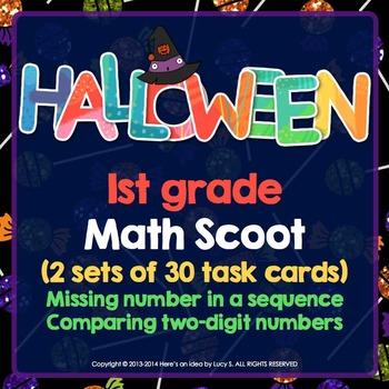 Halloween 1st Grade Math Task Cards