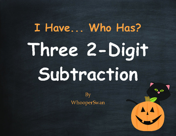 Halloween Math: Three 2-Digit Subtraction - I Have, Who Has