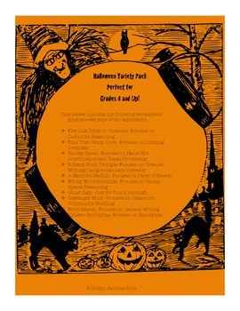4th/5th/6th Grade Halloween Math and Language Arts Packet-