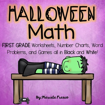 Halloween Math for First Grade- Worksheets, Word Problems,