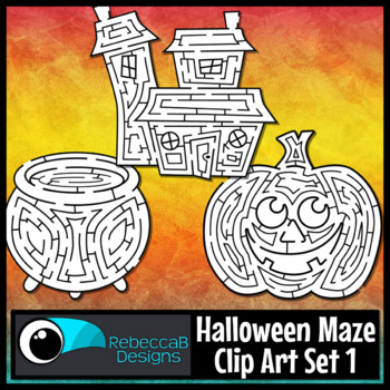 Halloween Maze Clip Art: Mazes with Solutions for Halloween