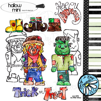 Halloween Mini Watercolor Clipart & Lineart Set