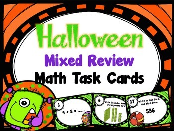 Halloween Mixed Review Math Task Cards