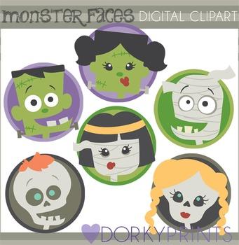 Halloween Monster Faces Clip Art