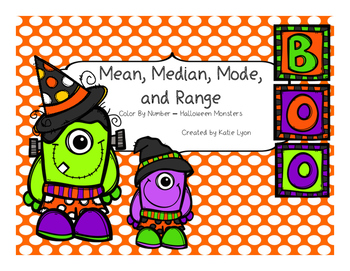 Halloween Monsters Color By Number - Mean, Median, Mode, a