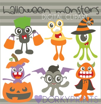 Halloween Monsters Digital Clip Art