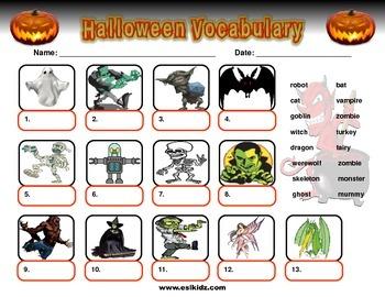 Halloween Monsters Vocabulary
