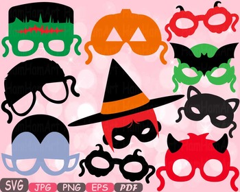Halloween Monsters props kids masks clipart Photo Booth pu