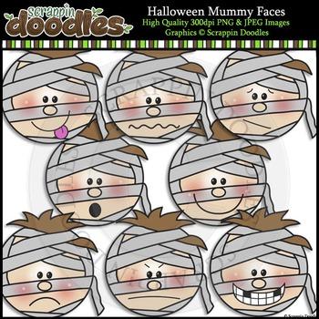 Halloween Mummy Faces Clip Art & Line Art