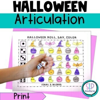 Halloween NO PREP Articulation Roll Say Color Sound Practi
