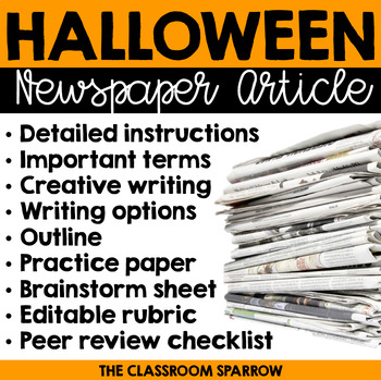 Halloween Newspaper Article (writing options, template, &