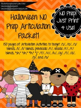 Halloween No Prep Articulation Packet!