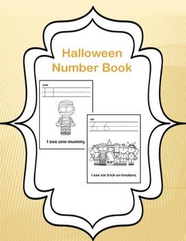 Halloween Number Book Worksheets Numbers 1-10