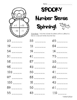 Halloween Number Sense Spinning Activity - 2 sheets - Plac