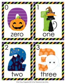 Halloween Number Words Write the Room Activity