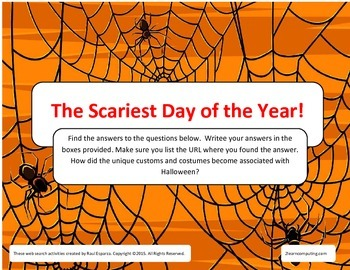 Halloween Online Web Search for Teens Fillable PDF
