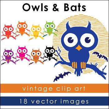 Halloween Owls and Bats