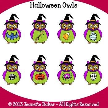 Halloween Owls Clip Art by Jeanette Baker