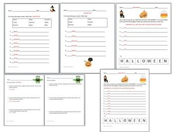 Halloween Pack Differentiated Worksheets Math ABC Order