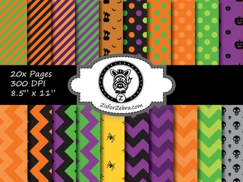 Halloween Paper Pattern Pack 2 - 20 pages - Commercial OK