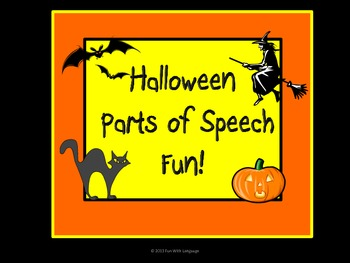 Halloween Parts of Speech Fun with Sorting and Sentence Wr