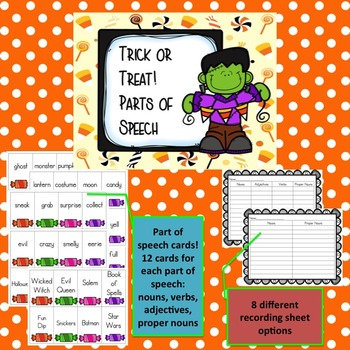 Halloween Parts of Speech Sort