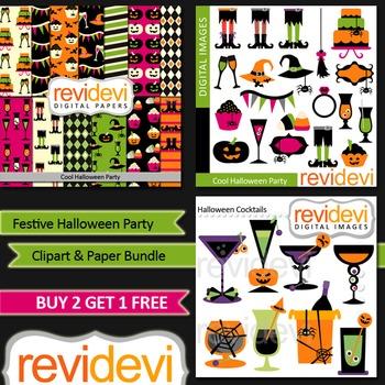 Halloween Party Clip Art and Digital Paper Bundle (3 packs)