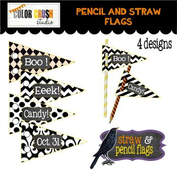 Halloween Party Pencil & Straw Toppers ** With Free Reward