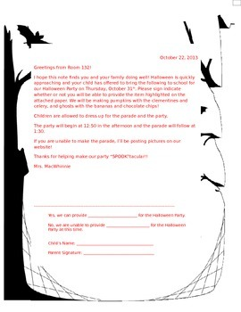 Halloween Party Snack Sign Up Sheet