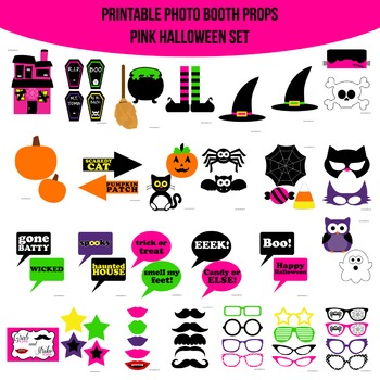 Halloween Pink Printable Photo Booth Prop Set