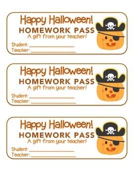 """Halloween"" Pirate Pumpkin - Homework Pass – FUN! (color &"