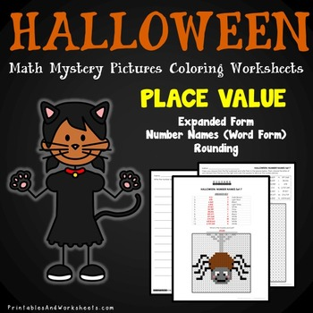 Halloween Place Value Coloring Worksheets