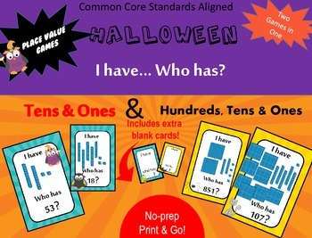 Halloween Place Value - I have Who has - Standard numbers