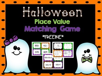Halloween Place Value Match Game [FREEBIE]