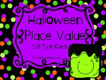 Halloween Place Value Task Cards (3 digits, Expanded, Stan