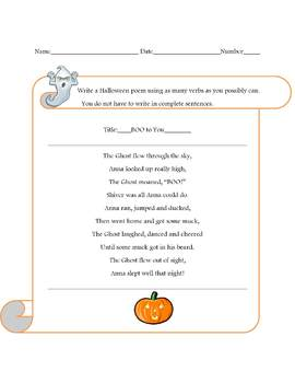 Halloween Poem Template