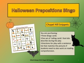 Halloween Prepositions Bingo